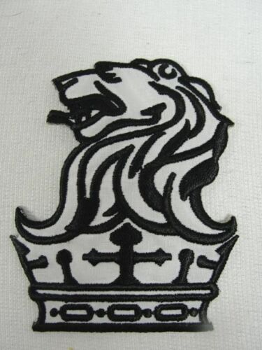 Lion on Crown Heraldic Embroidered Iron On Patch