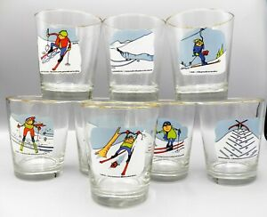 8-Ashby-Skier-Skiing-Ski-Cartoon-Old-Fashioned-Tumblers-12-oz-WV-Glass-Barware