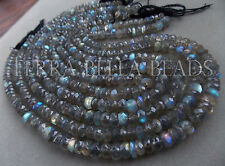 "13"" SPECTROLITE LABRADORITE faceted gem stone rondelle beads 6mm - 6.5mm multi"