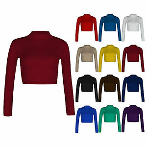 H11-12A-Womens-Polo-Turtle-Neck-Long-Sleeve-Stretchy-Jersey-Cropped-Top-T-Shirt
