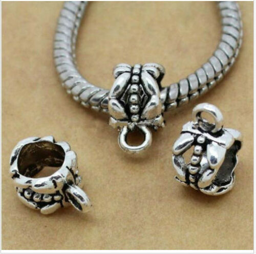 300Pcs Tibetan Silver Spacer Bail Beads Charms Pendant Fit Bracelet 11x7mm