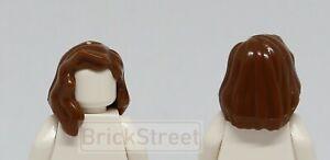 NEW-Lego-Girl-Minifig-Long-Brown-HAIR-Female-Minifigure-Over-Shoulder-Wavy-Hair
