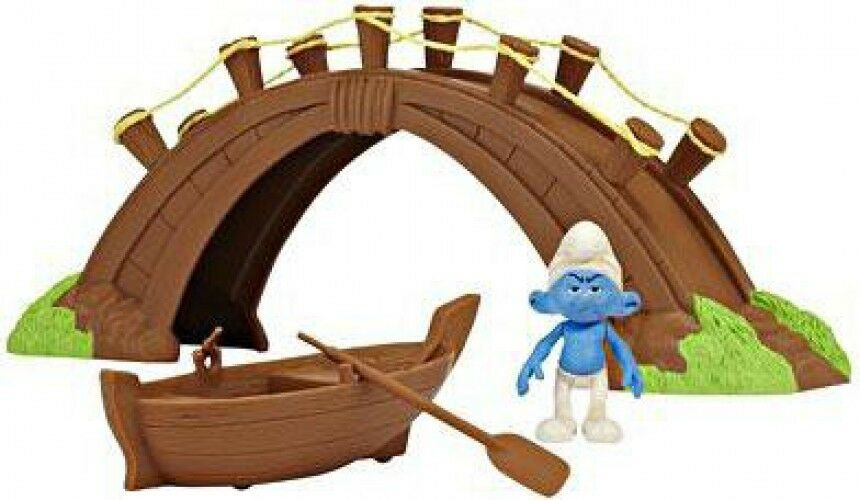 The Smurfs Movie Movie Moments Smurf Village Bridge Bridge Bridge and Boat Figure Playset 9aec3c