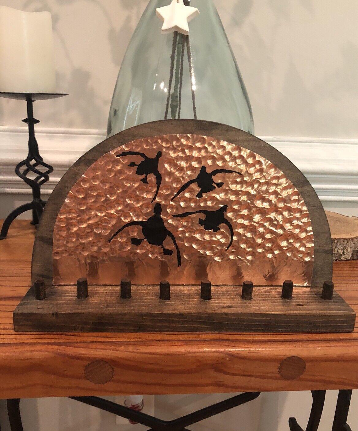 Patos titular de cobre Soporte de exhibición Decoración de Madera de Regalo de caza de aves acuáticas Rústico