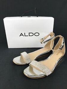 ALDO-Women-039-s-Silver-Rhinestones-Ankle-Strap-Sandals-Size-8-5