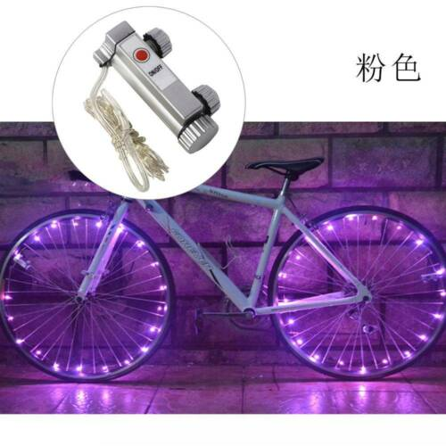 LED Bicycle Bike Cycling Rim Wheel On//Off Spoke Lights String Blu//Red//White//Pink