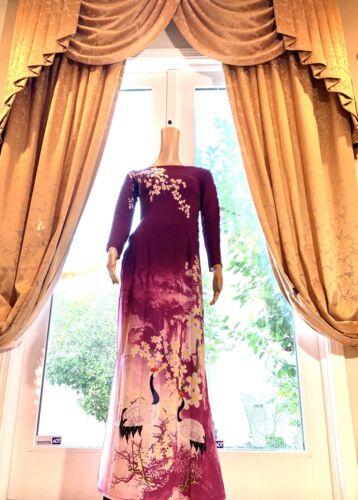 Vietnamese Ao Dai  Long Dress with Pants Free Priority shipping