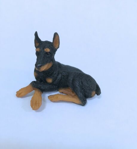 Dollhouse Miniature  black doberman dog  lying down