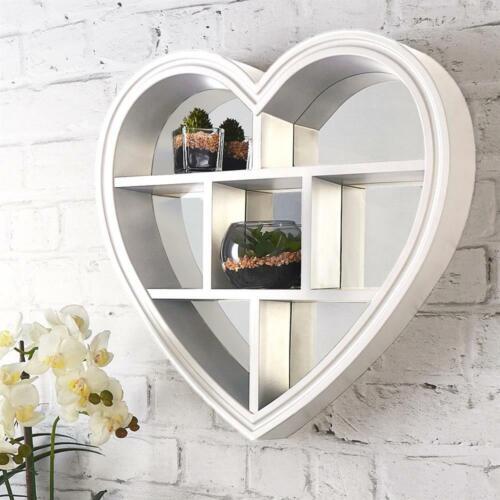 WHITE HEART MIRROR SHELF 6 SECTIONS BED BATH ROOM HEART SHAPE WALL MIRROR SHELF