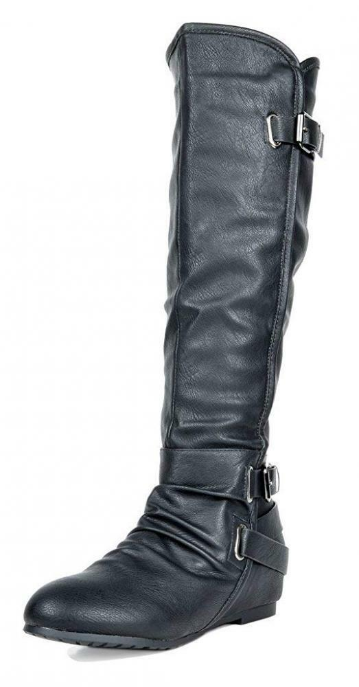 DREAM PAIRS Women's New-Akris Black Pu Knee High Hidden Wedge Winter Riding...