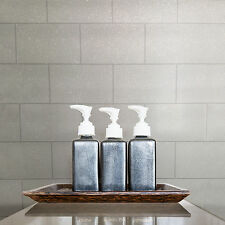 New Crown - London Tile - Glitter Tile Effect - White - Luxury Wallpaper M1054