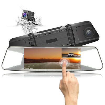 "JEEMAK Mirror Dual Lens Dash Cam 7"" Touch Screen 1080P Rear View Car DVR Camera"