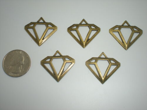 5 pc Antique Look Brass Metal Diamond lot pendant craft  jewelry