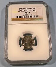 2001 NGC MS67 CANADA DIME YEAR OF THE VOLUNTEERS 10c MS 67 TEN CENT COIN