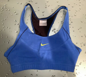 NIKE Women's Bra Top Cotton Spandex Blend Blue & Black Size Small CLEAN