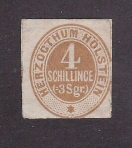 Holstein stamp #25, MH, 1865 - 1866,German State, some paper on back, SCV $65.00