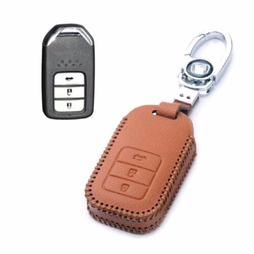 Genuine Leather 3 Button Remote Key Bag Case Fob Holder Chain For Honda Series B