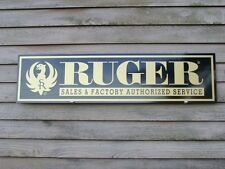 "EARLY STYLE STURM RUGER FIREARMS DEALER SIGN/AD 1'X46"" ALUM. PANEL W/EAGLE LOGO"