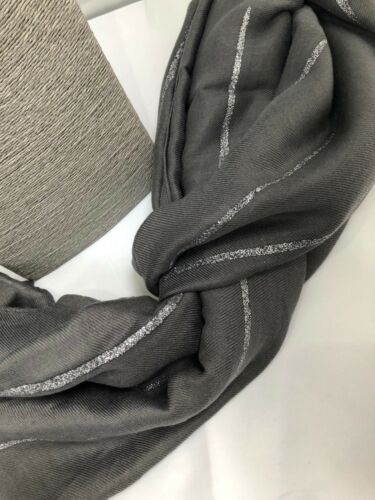 Lovely Ladies Scarf Grey with silver Metallic glitter stripes soft feel NEW gift