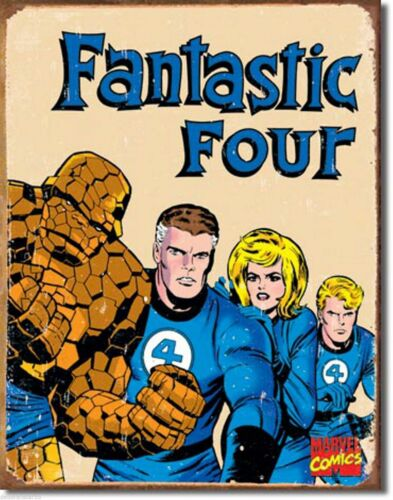 MARVEL COMICS HEROES FANTASTIC FOUR RETRO;ANTIQUE-STYLE METAL WALL SIGN 40X30cm