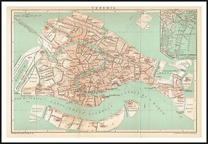 VENICE City Plan map circa 1900 Original print Italy