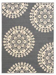 Rubber-Backed-Non-Skid-Non-Slip-Gray-Ivory-Color-Medallion-Design-Area-Rug
