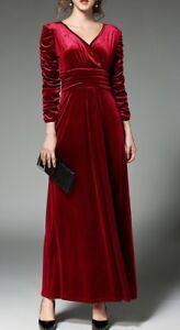 new concept 0b822 14fde Dettagli su Elegante vestito abito lungo rosso velluto tubino slim maniche  lunghe slim 3189