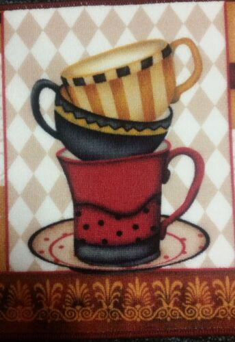 """PRINTED KITCHEN RUG Soho 18/"""" x 28/"""" COFFEE CUPS STACK nonskid back"""