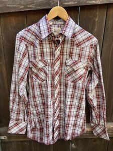 Vintage 1970's Montgomery Ward Western Plaid Pearl Snap-Button Shirt sz M