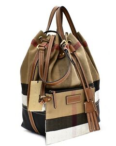 Image is loading Burberry-Brit-Heston-Canvas-Check-Large-Shoulder-Bag- 175b7f87cffed