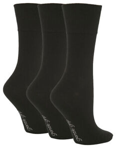 3-Pairs-Ladies-Plain-Black-Gentle-Grip-Cotton-Everyday-Socks-Size-4-8