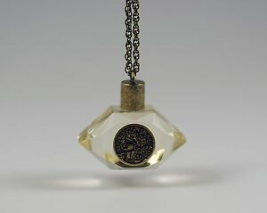 Faux-Republique-Francaise-1808-Napoleon-Coin-Lucite-Perfume-Bottle-Necklace