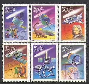 UNGHERIA-1986-HALLEY-LA-COMETA-spazio-Dinosauri-SATELLITI-stelle-astronomia-6v-n10586