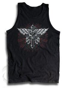Skulls-Iron-Cross-Wings-Biker-Goth-Mens-Sleeveless-Muscle-T-Tank-Top-Vest-S-2XL
