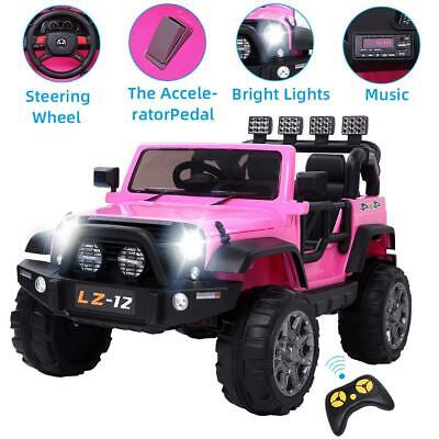 12V Electric Ride on Car Toys Kids Jeep 3 Speeds Light Music Remote Control Pink