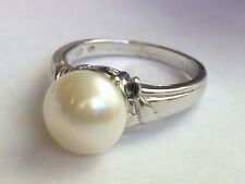 Antique Off White Luster Cocktail Ring HUGE Real Pearl White Gold Tone Band Sz 7
