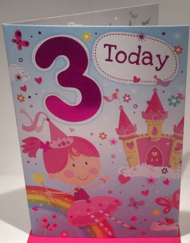 7.5 x 5.25 Inches Happy 3rd Birthday Card for A Girl