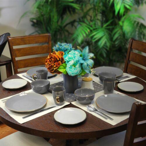 Elama Tahitian Grand 16 Piece Luxurious Stoneware Dinnerware Set Stone and Slate