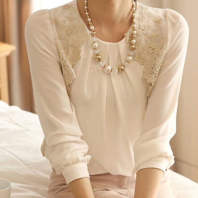 Elegant Blouse Women Vintage Long Sleeve Sheer Shirt Lace Chiffon Blouse Summer