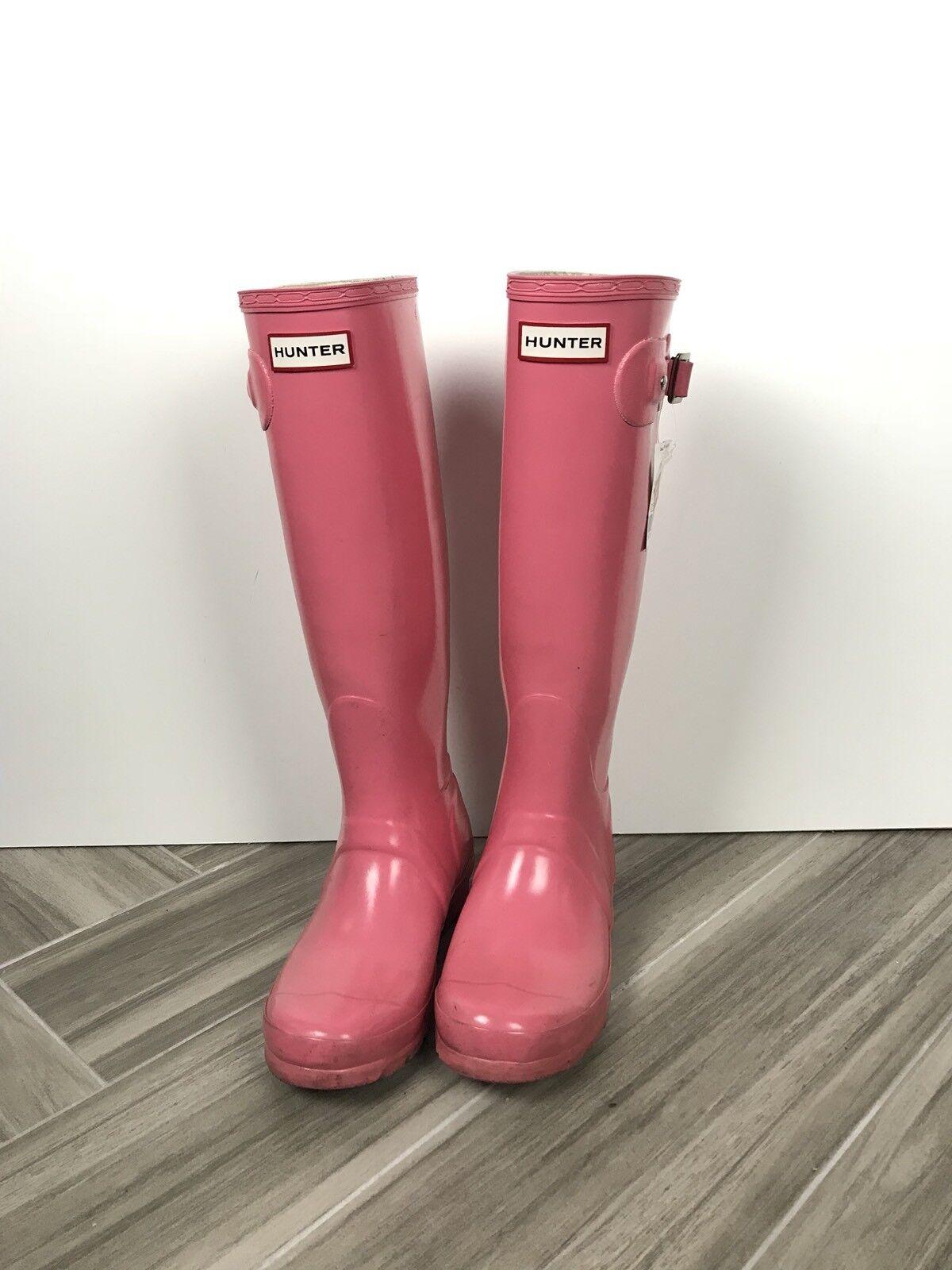 Hunter Original Gloss Tall Rain Boots Size 5 Pink Casual Winter Waterproof