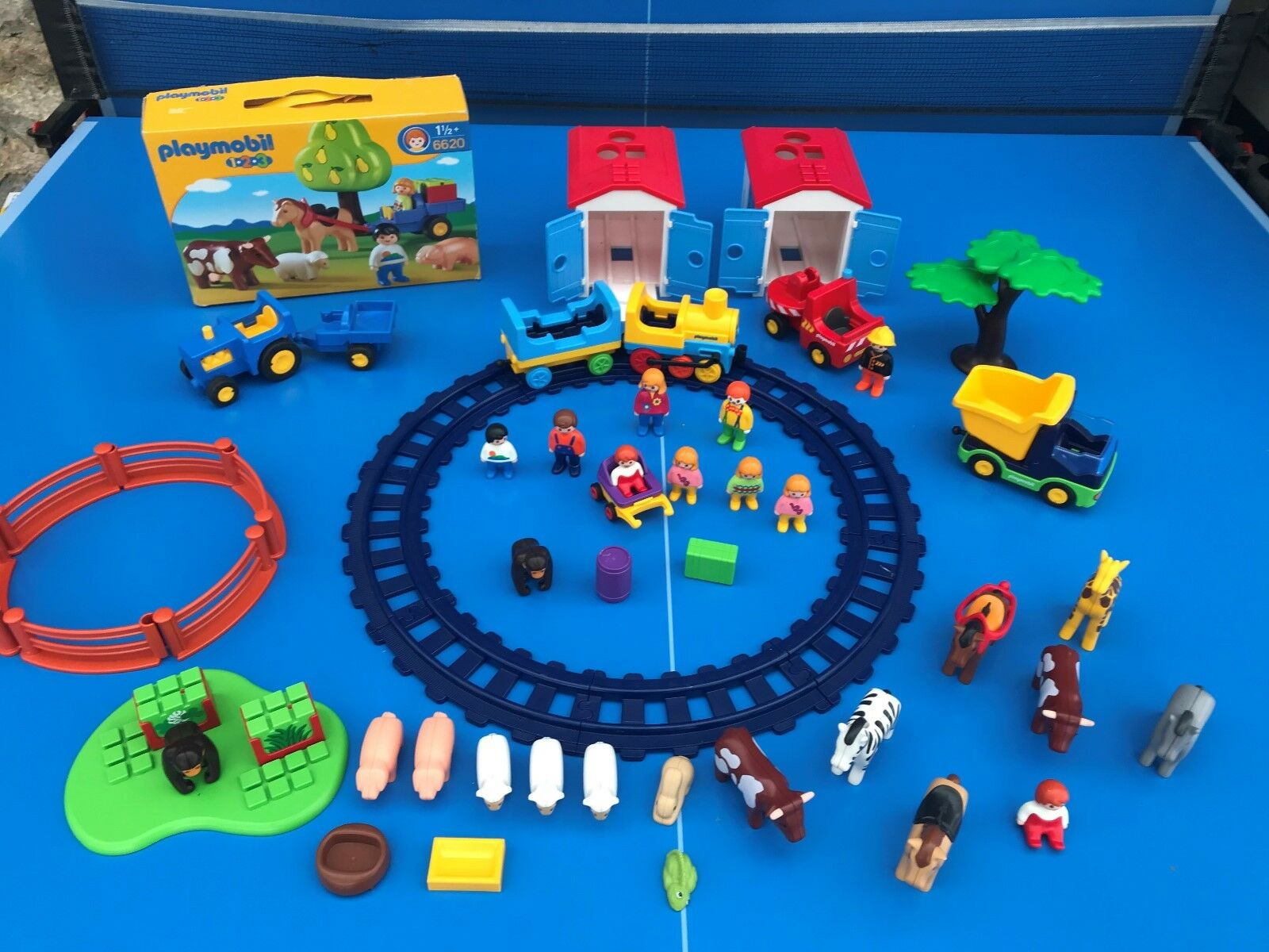 Playmobil 123 enorme lot tbe kg farm zoo animals Fahrzeuge train figurines no 2