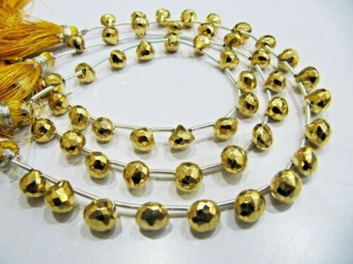 Natural Golden Pyrite Onion Briolette Faceted 6mm beads strand 8 Inches Long