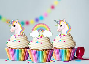 30 X Mini Unicorn Amp Rainbows Edible Cupcake Cake Toppers