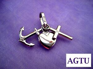 Three Virtues Heart Anchor Cross Faith Charity Hope Pendant 925 Silver Baptism Confirmation First Communion Religious Art Protection Charm