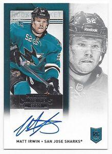 2013-14-Panini-Contenders-autographed-hockey-card-Matt-Irwin-San-Jose-Sharks