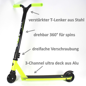 KIWI-GREEN-stuntscooter-Freestyle-Scooter-Roller-Alu-Metall-MONOBLOC-yx-10-7A1m