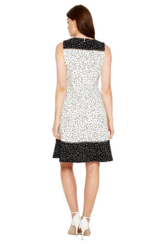Roman Originals Women/'s Ivory Polka Dot Fit and Flare Dress Sizes 10-20