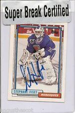 Stéphane Fiset 1991-92 Topps  les Nordiques de Québec  autographed  card # 285