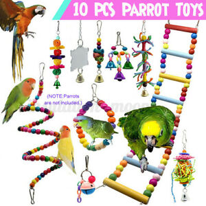 10-Pcs-Wood-Ladder-Toys-Pet-Bird-Parrot-Budgie-Cockatiel-Chewing-Swing-Cage