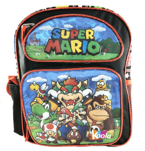 "Super Mario 3D Brother Team 12/"" Small  Backpack Kid Boys Plus Licensed"